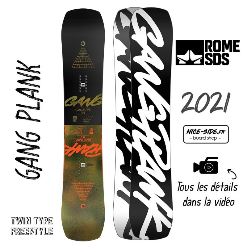 Rome Gang Plank snowboards homme 2021 pack snowboard + fixation