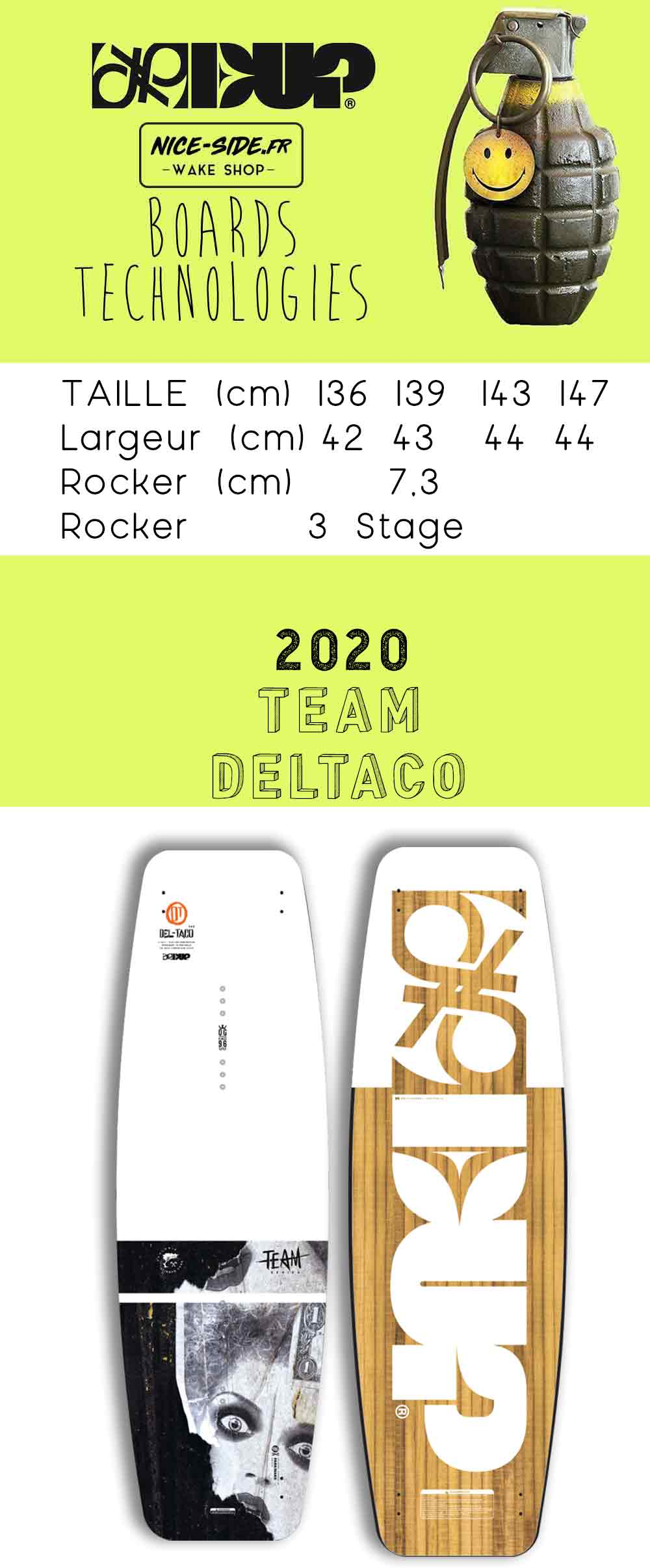 desciptif de la planche de wakboard Deltaco dup 2019
