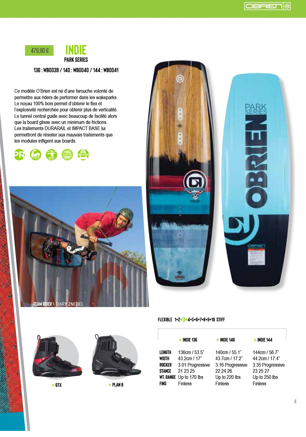 Planche wakebard cable indie 2019 obrien